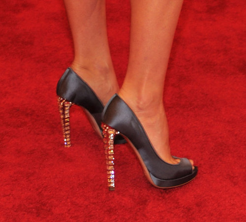 Distinguished detail: the crystal-encrusted heels.