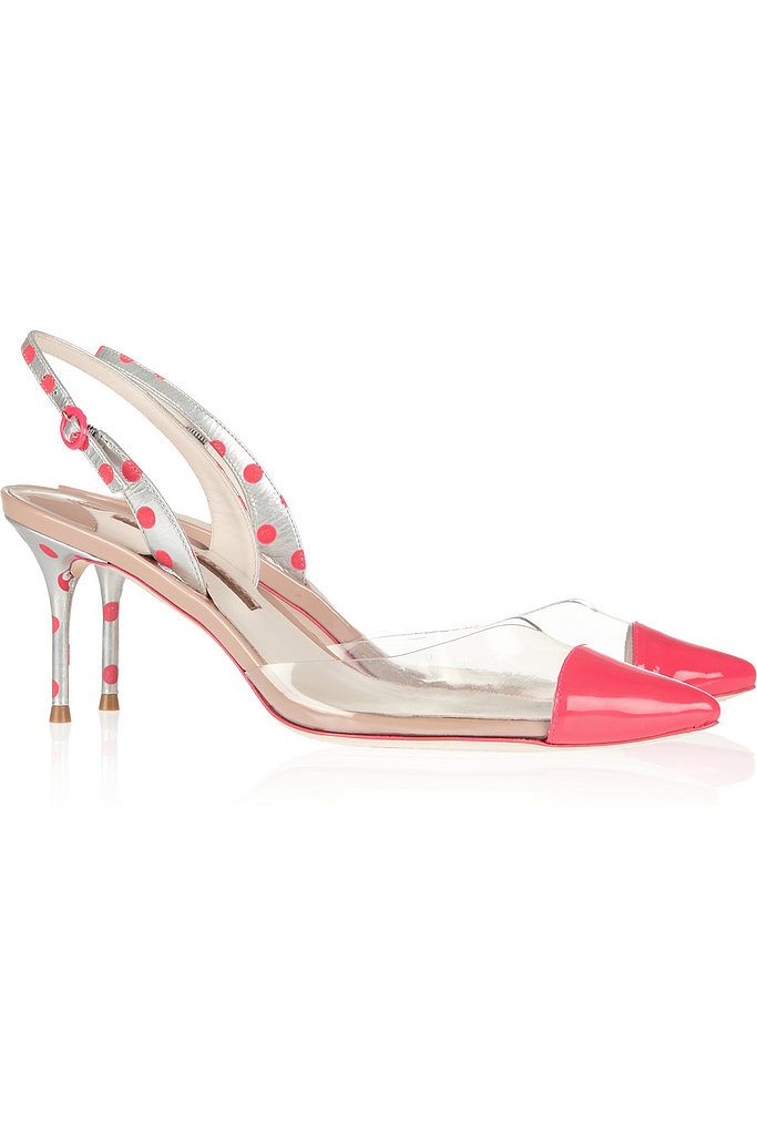 Sophia Webster Diara Leather and PVC Kitten Heels ($395)