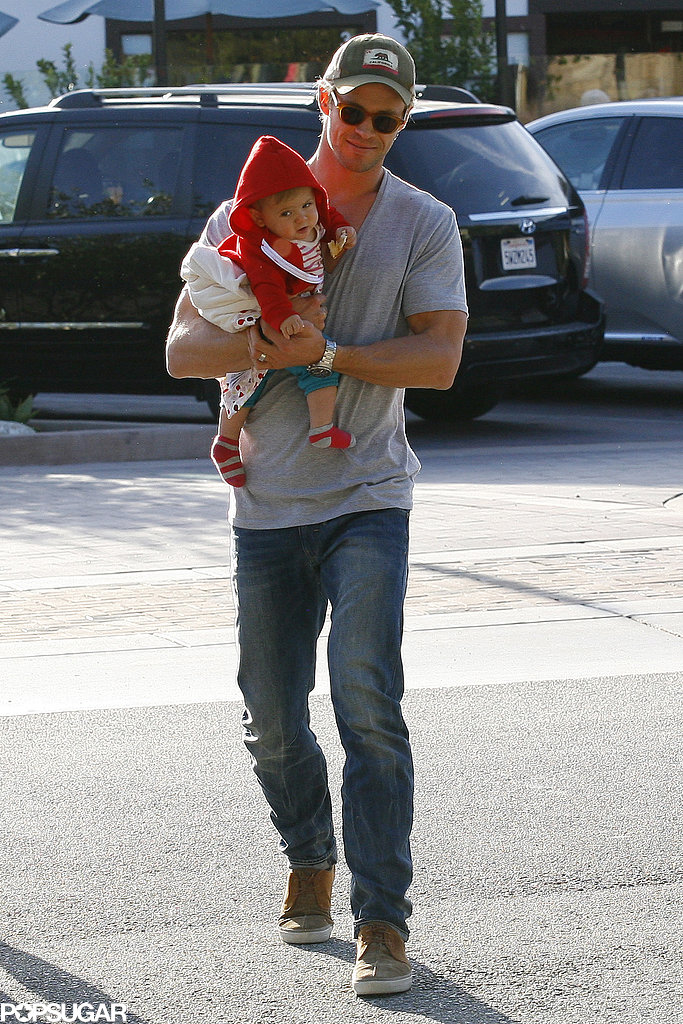 Chris Hemsworth kept his daughter, India, really close during their family lunch run in LA on Thursday.