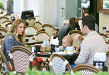 Hilary Duff had lunch with her two boys, Mike and Luca Comrie, in LA.