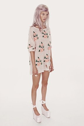 Wildfox Couture Prairie Rose Lennon Sweater in Clean White