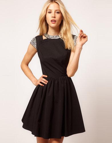 ASOS Skater Dress with Embellished Collar