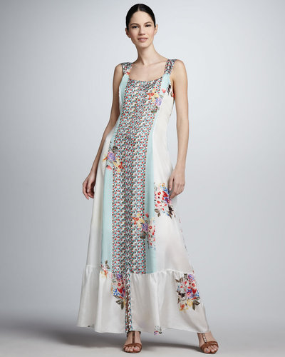 Johnny Was Collection Floral-Print Silk Maxi Dress
