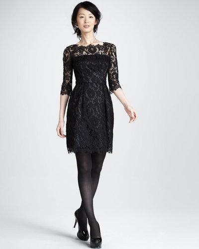 Milly Stella Lace Dress, Black