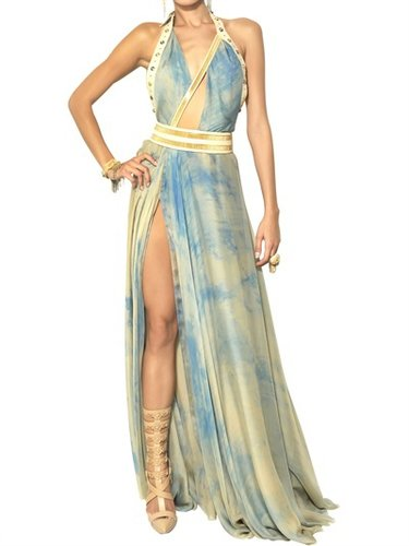 Leather & Tie Dyed Georgette Long Dress