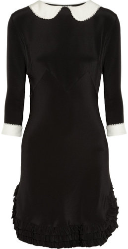 Rochas Peter Pan collar silk crepe de chine dress