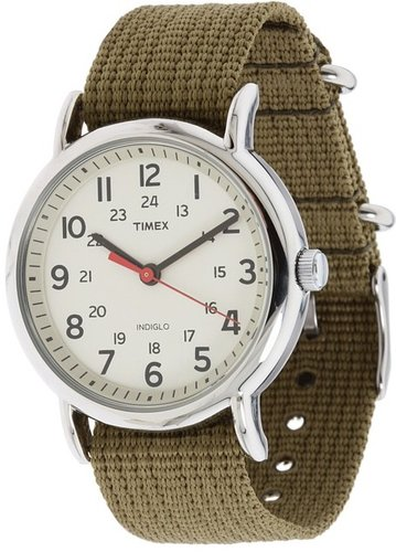Timex - Weekender Olive Slip Through Strap Watch (Silver) - Jewelry