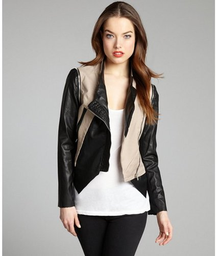 Walter tan and black cotton-faux leather convertible 'Miles' motorcycle jacket
