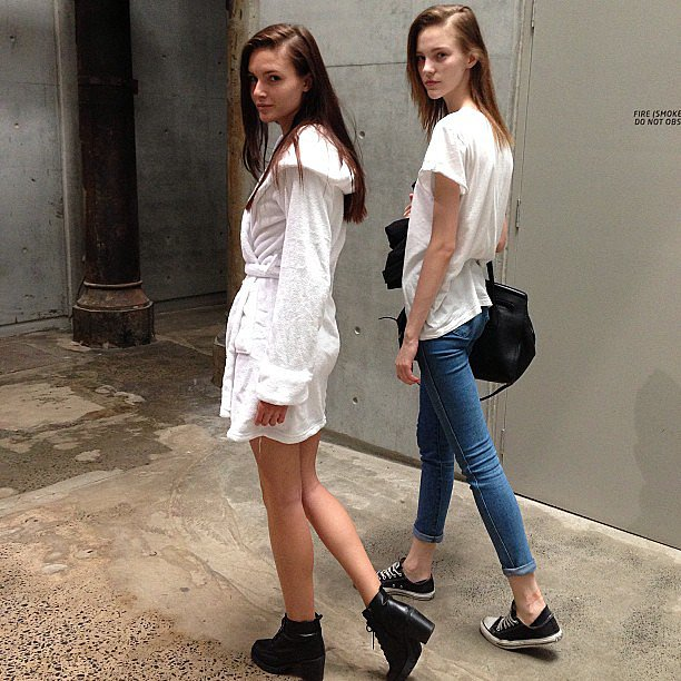 Models Amanda Ware and Nicole Pollard were snapped backstage by stylist Romy Frydman. Source: Instagram user stylemeromy