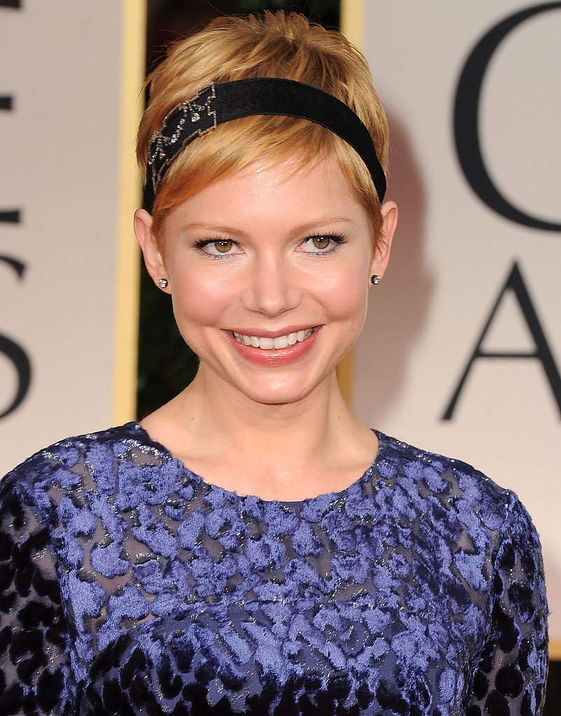 Michelle Williams dressed up her blond pixie with a dazzling headband.