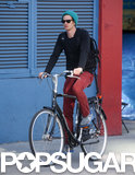 Andrew Garfield rode his bike in NYC.