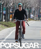 Andrew Garfield rode his Batavus bike on the West Side Highway in NYC.