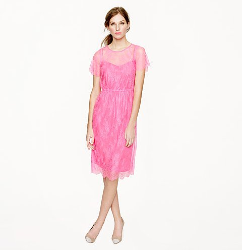"Light, airy, fuss-free, and in the girliest pink — we couldn't think of a sweeter way to spend (and style) your last night as a ""single lady."" Thanks to the J.Crew Collection Lace Slip Dress ($298), you can easily balance a flirty sensibility with a chicer one."