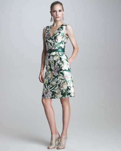 Oscar de la Renta V-Neck Faux-Wrap Dress
