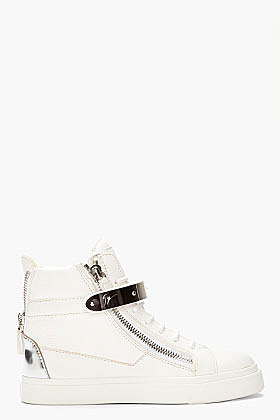 GIUSEPPE ZANOTTI Off-White Leather London Donna Sneakers