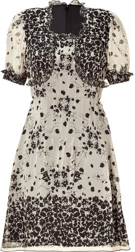 Anna Sui Black/Nude Floral Print Dress