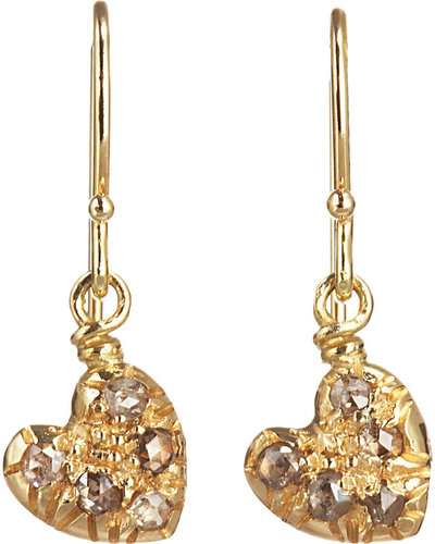 Fabrizio Riva Brown Diamond Heart Drop Earrings