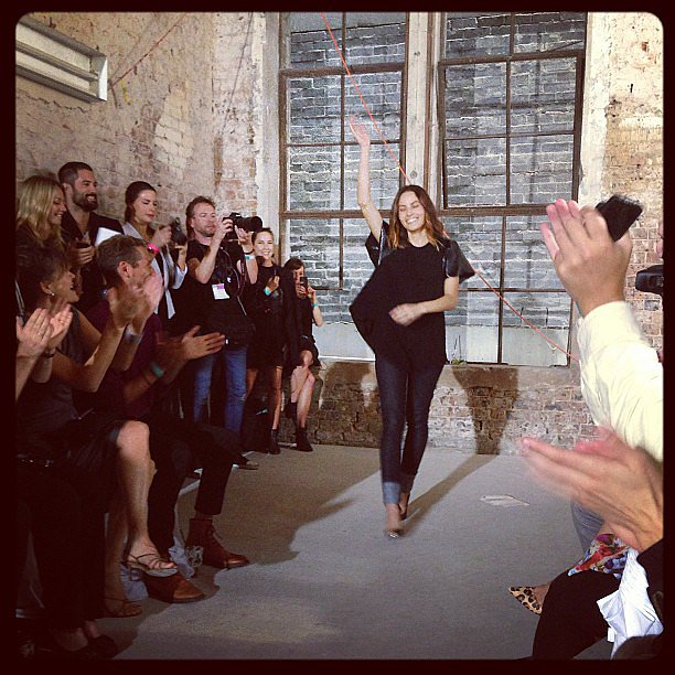 Designer Kym Ellery waved to the audience at the end of her label Ellery's show. Source: Instagram user sweatybettypr