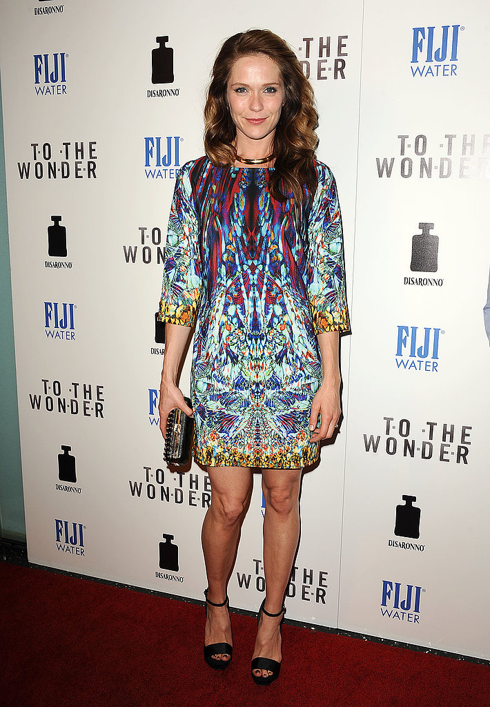 Katie Aselton wore a printed frock. | Ben Affleck and Rachel McAdams Link Up For To the Wonder ... Rachel Mcadams