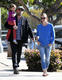 Ben Affleck walked with Seraphina and Jennifer Garner.