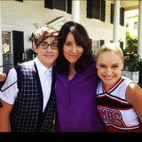 Kevin McHale posed with his Glee costars Katey Segal and Becca Tobin. Source: Instagram user kevinmchale