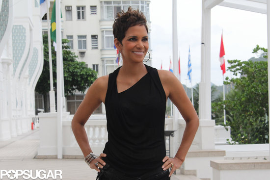 Halle Berry posed during a press appearance in Brazil.
