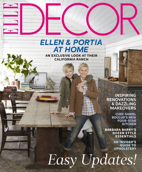 For the cover, Ellen and Portia cozied up in their art barn. Though the table they're leaning against is a 17th century Swedish farm find, we think this version made from reclaimed pines is a great modern substitute. Instead of flowers, follow their lead by decorating with branches or even potted trees, like this blood orange variety.