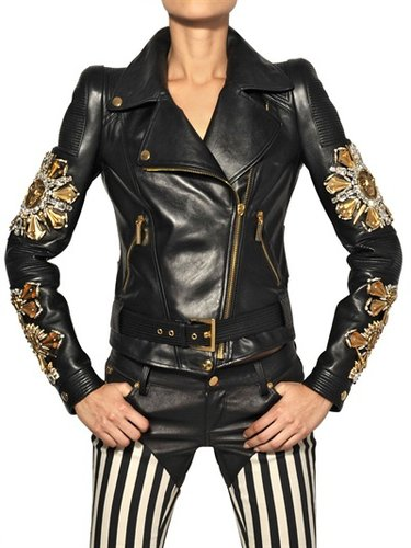 Embroidered Nappa Leather Biker Jacket