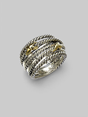 David Yurman Sterling Silver & 18K Gold Double X Crossover Ring