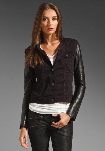 J Brand Blackened Denim Jacket with Leather Sleeve