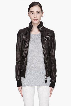 MACKAGE Black high-gloss Liat hooded Leather jacket