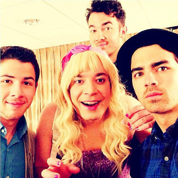 "Jimmy Fallon teased his ""Ew!"" skit with the Jonas Brothers. Source: Instagram user latenightjimmy"
