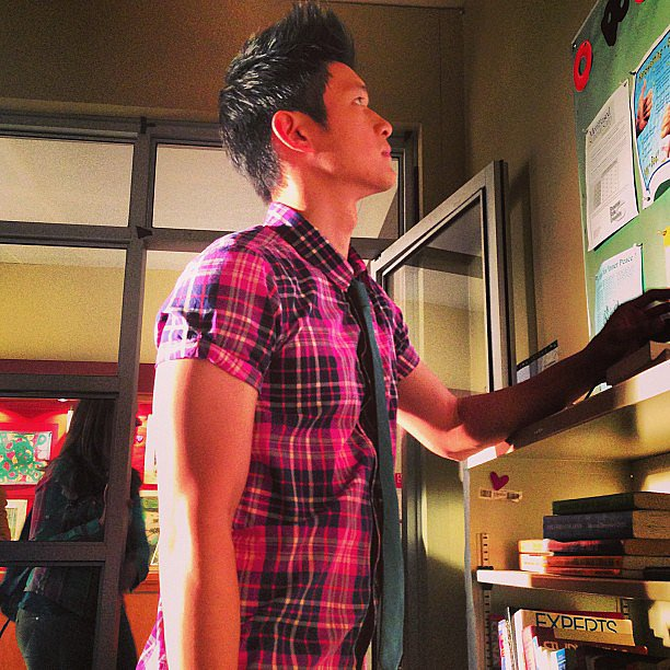 Kevin McHale wondered if his Glee costar, Harry Shum, had been working out his arms. Source: Instagram user kevinmchale