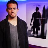 Channing Tatum posed by his White House Down poster. Source: Instagram user channingtatum