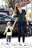 Miranda Kerr held onto her son, Flynn Bloom, in LA in April 2013.