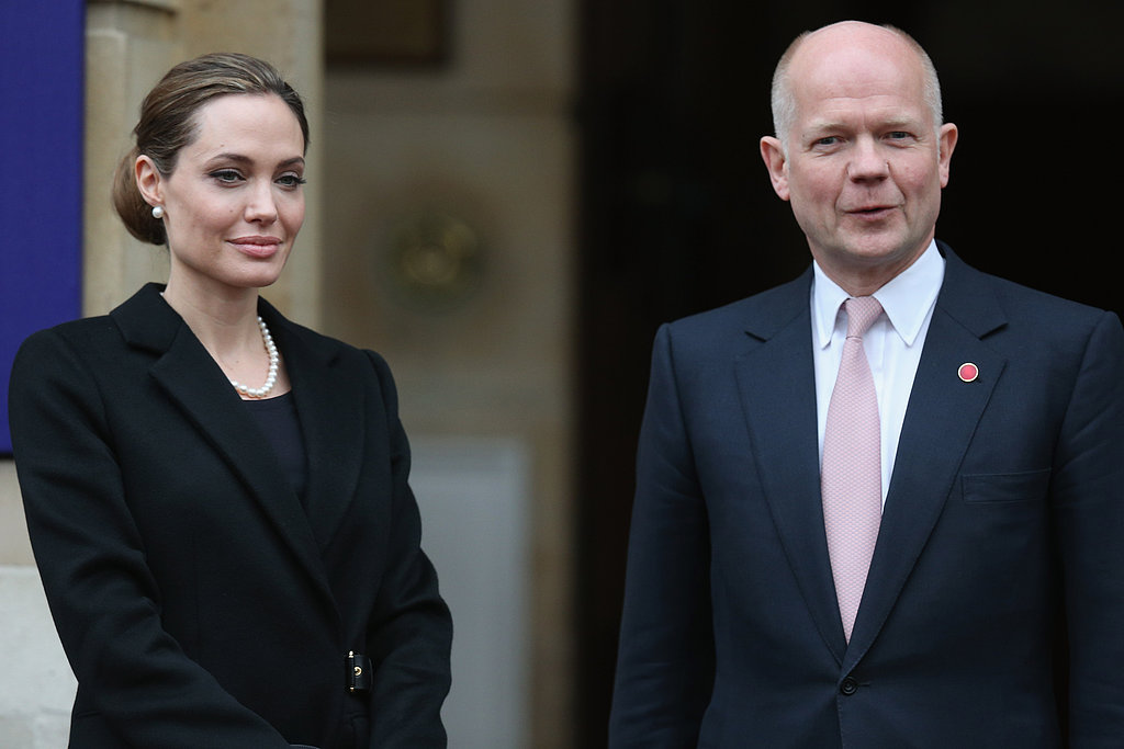 Angelina Jolie and British Foreign Secretary William Hague met at the Lancaster House in London before attending the G8 Foreign Ministers' conference.