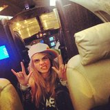 Cara Delevingne celebrated her first private plane ride. Source: Instagram user caradelevingne
