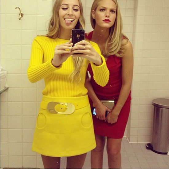 Harley Viera-Newton and Erin Heatherton took bathroom selfies in their mod Michael Kors dresses. Source: Instagram user michaelkors
