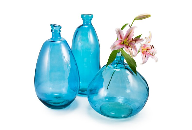 Green means blue with these recycled glass vases ($45).