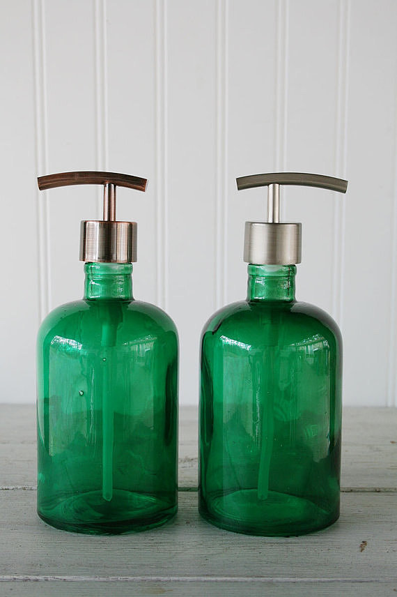 Go green (literally!) in your bathroom with these recycled glass soap dispensers ($25).