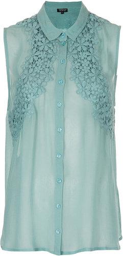 Flower Crochet Detail Shirt