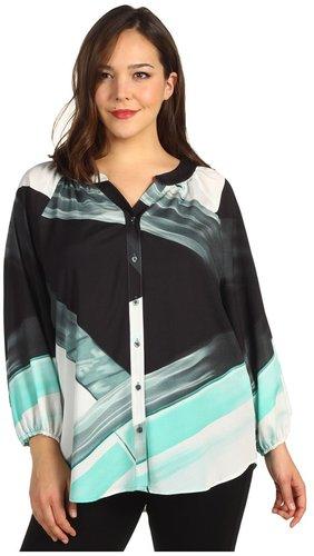 Calvin Klein - Plus Size Printed Blouse (Opal Multi) - Apparel