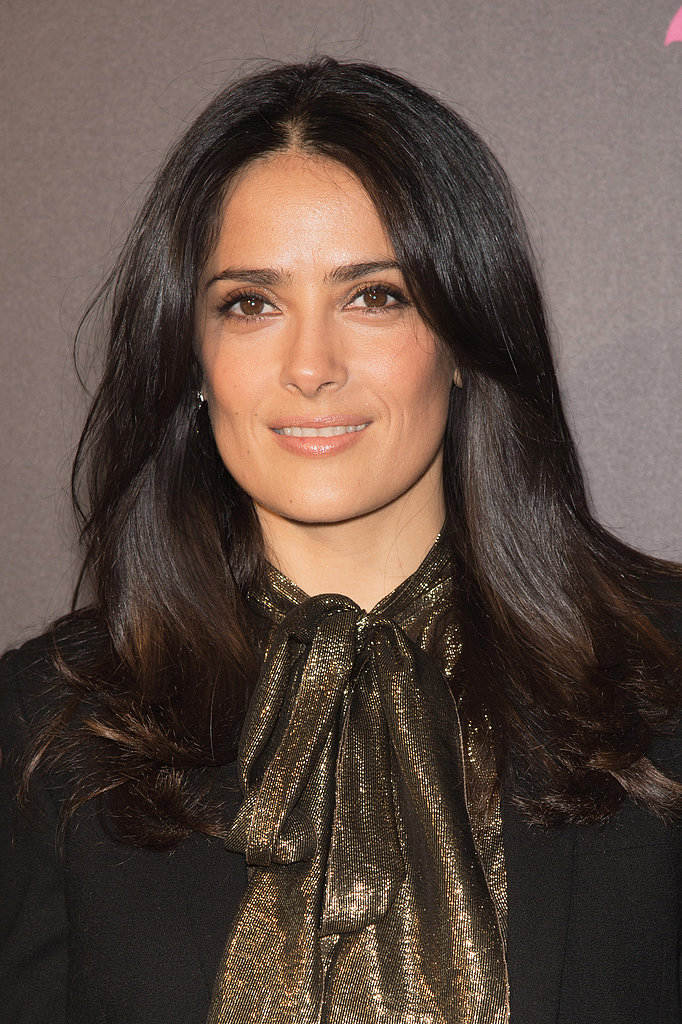 Salma Hayek was spotted in Paris with an enviable blowout, which she coupled with a toned-down, natural makeup palette.