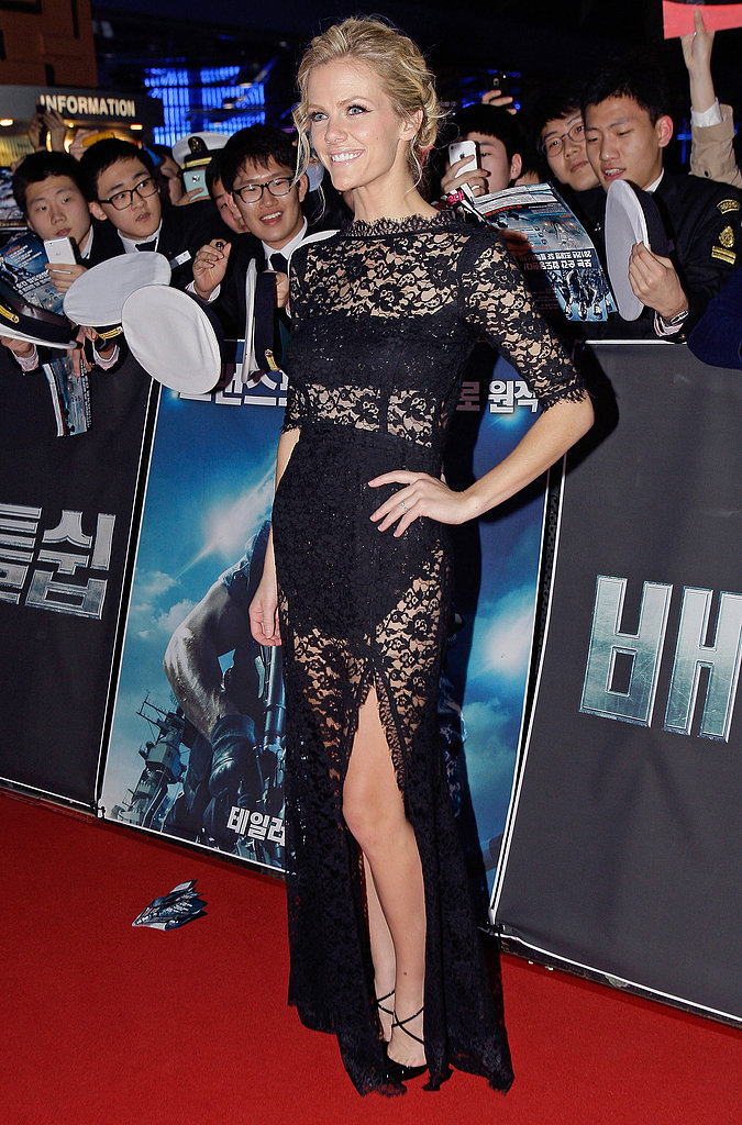 She stunned in a lace peekaboo Femme D'armes gown at the Battleship premiere in South Korea.