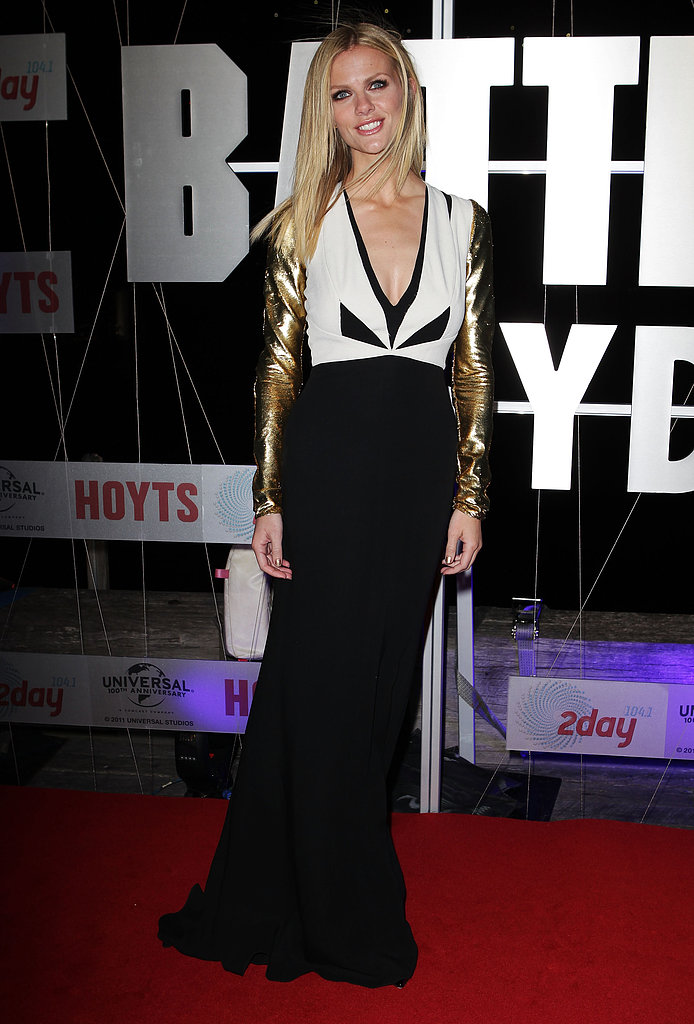Brooklyn had a glamazon moment in a gold-tinged J. Mendel gown at the Battleship premiere in Sydney.