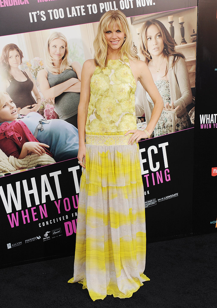 Brooklyn chose a sunny Giambattista Valli gown for the What to Expect When You're Expecting premiere in LA.