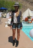 A woven BCBG Max Azria moto jacket added a bohemian tilt to this Coachella party look. Source: Chi Diem Chau
