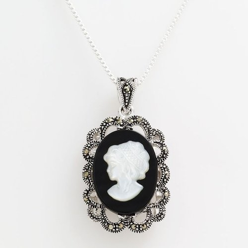 Sterling silver onyx and marcasite cameo pendant
