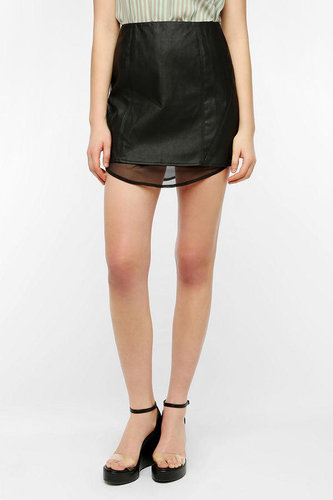 Silence & Noise Chiffon Lined Faux Leather Skirt
