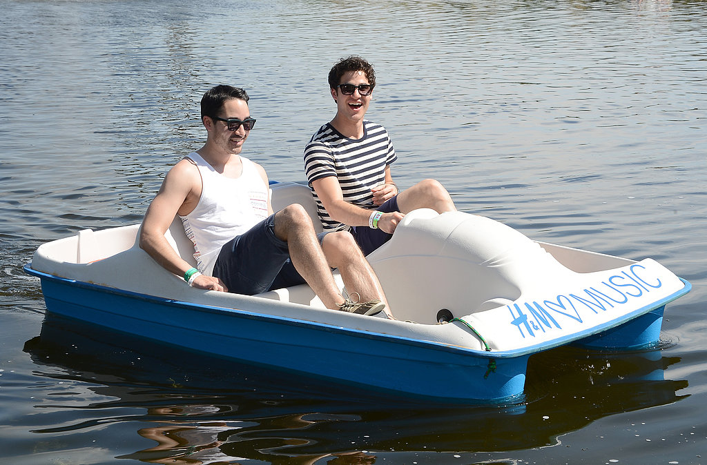 Darren Criss and a friend hit the paddleboats.